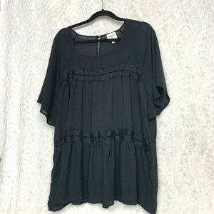 Hayden Los Angeles Black Short Sleeve Blouse Lace